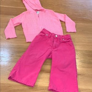 Old Navy ~Pink Cranberry Set ~Jeans Sweater 18-24m